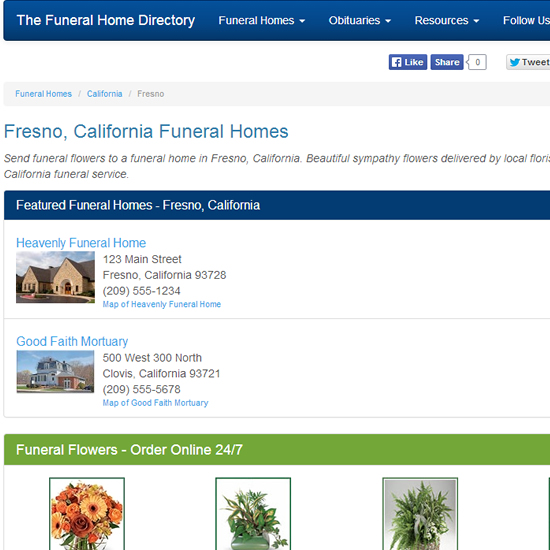 Featured Funeral Home Listing on City Page